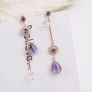3️⃣@$30 Purple Crystal Rhinestones Stud Earrings